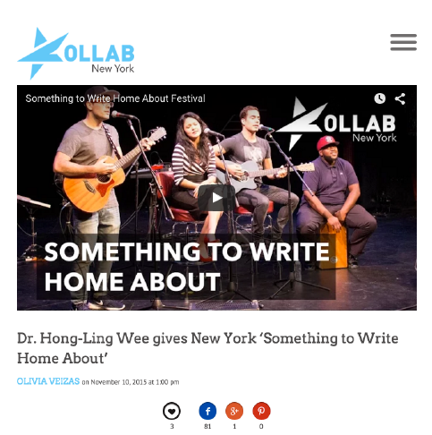 """Dr. Hong-Ling Wee Gives New York ""Something To Write Home About""    -- Olivia Veizas, Kollab, November 10, 2015"