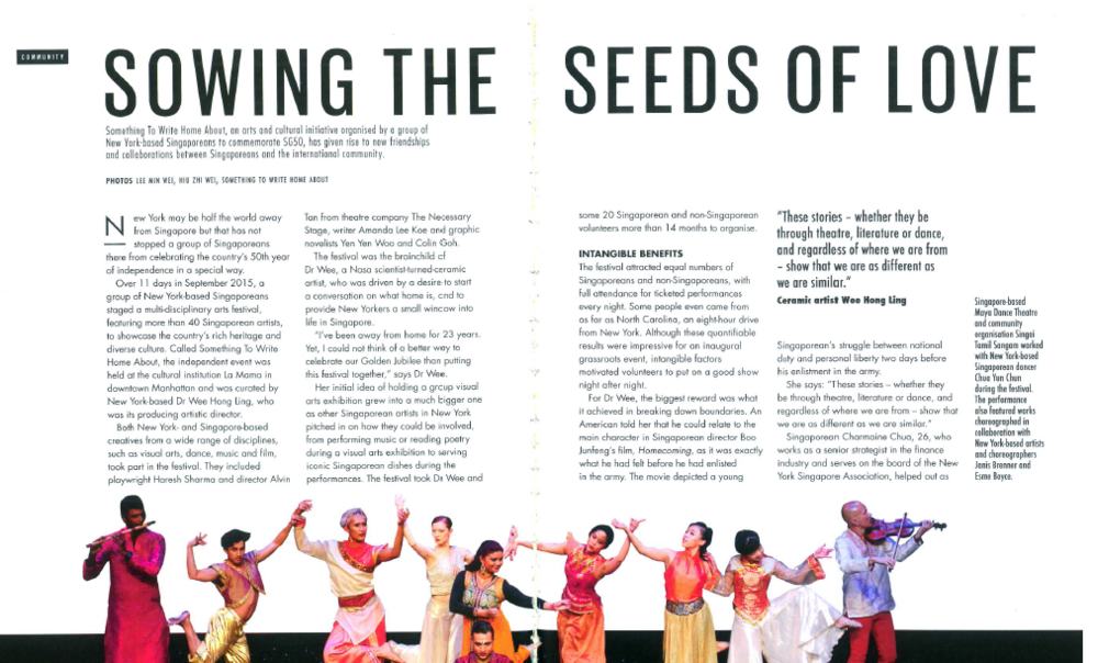 """Sowing The Seeds of Love""    -- Lediati Tan, Singapore Magazine (SIF), December Issue 4/2015"