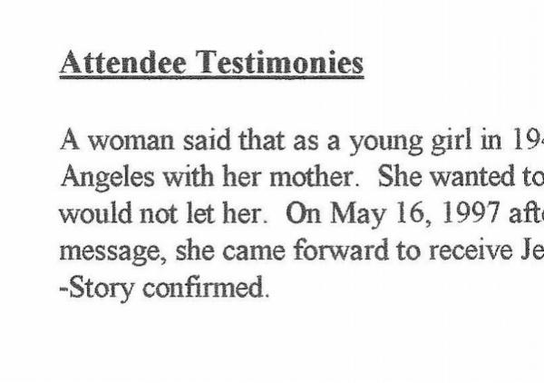 1 page of Testimonies