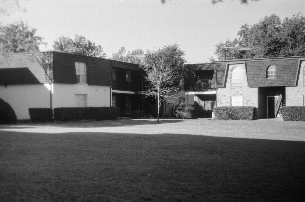 Home - this was the courtyard where our 1st apt was. 1980's Zorki 4 | Ilford HP5