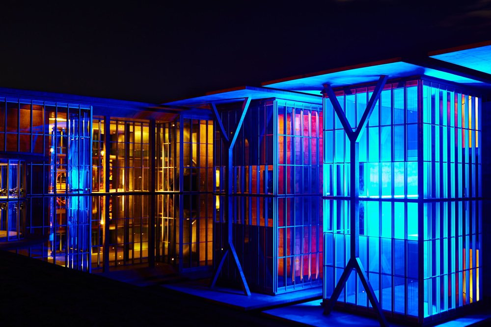 Fort Worth Modern Art Museum at night on Film - Fort Worth Texas 2016.