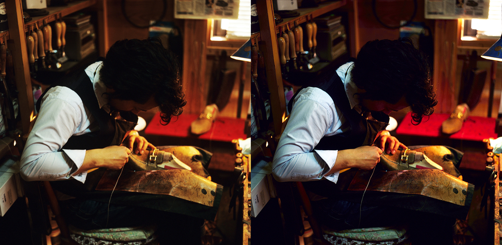 In this slide of a shoemaker in Kobe, Japan you can easily differentiate between the two images. The one on the right (Drum scan) is more accurate in terms of both color reproduction and shadow detail. You can really see the creases and lines on the shirt and the image is overall sharper on the drum scan vs. the CCD on the left.