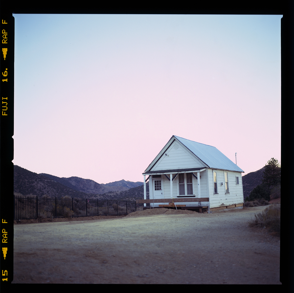 View of a house in Virginia City, Nevada on the way to Reno. Taken with a Hasselblad 501C, 80mm Zeiss CF lens, and Fujichrome Astia reversal film.