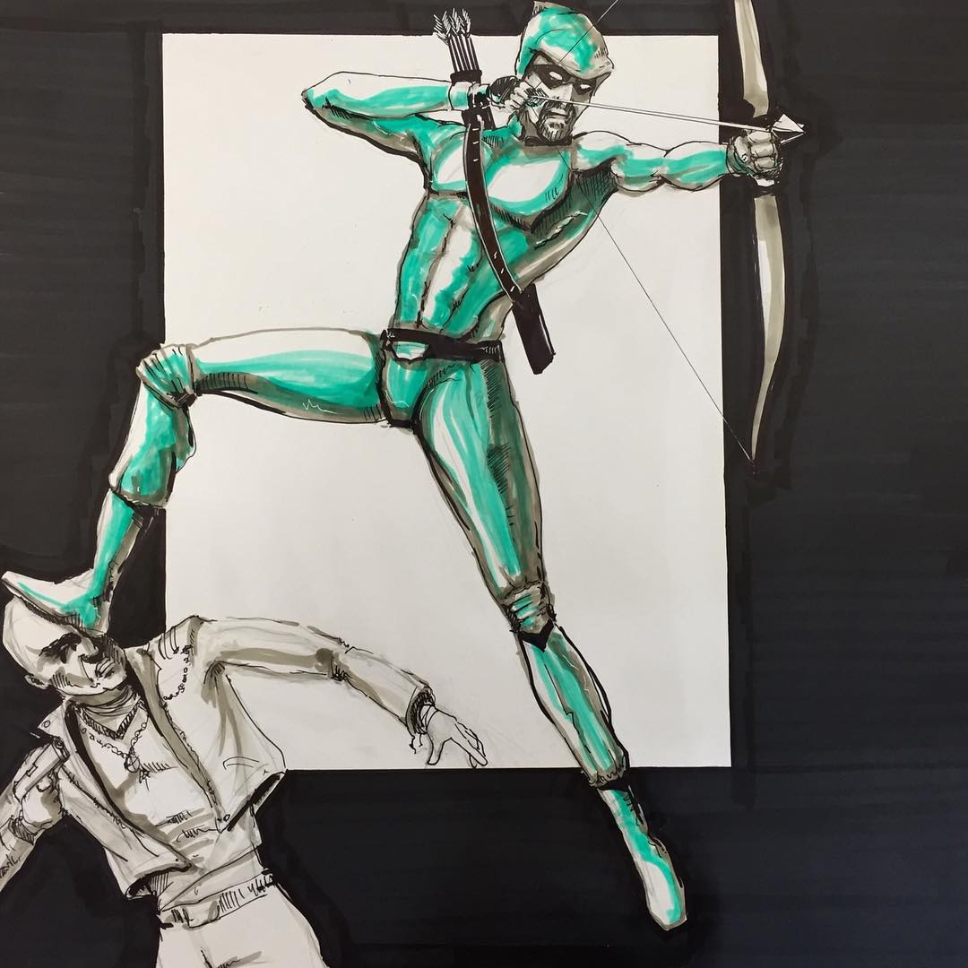 Green Arrow stompin' some goon. Marker on Card.