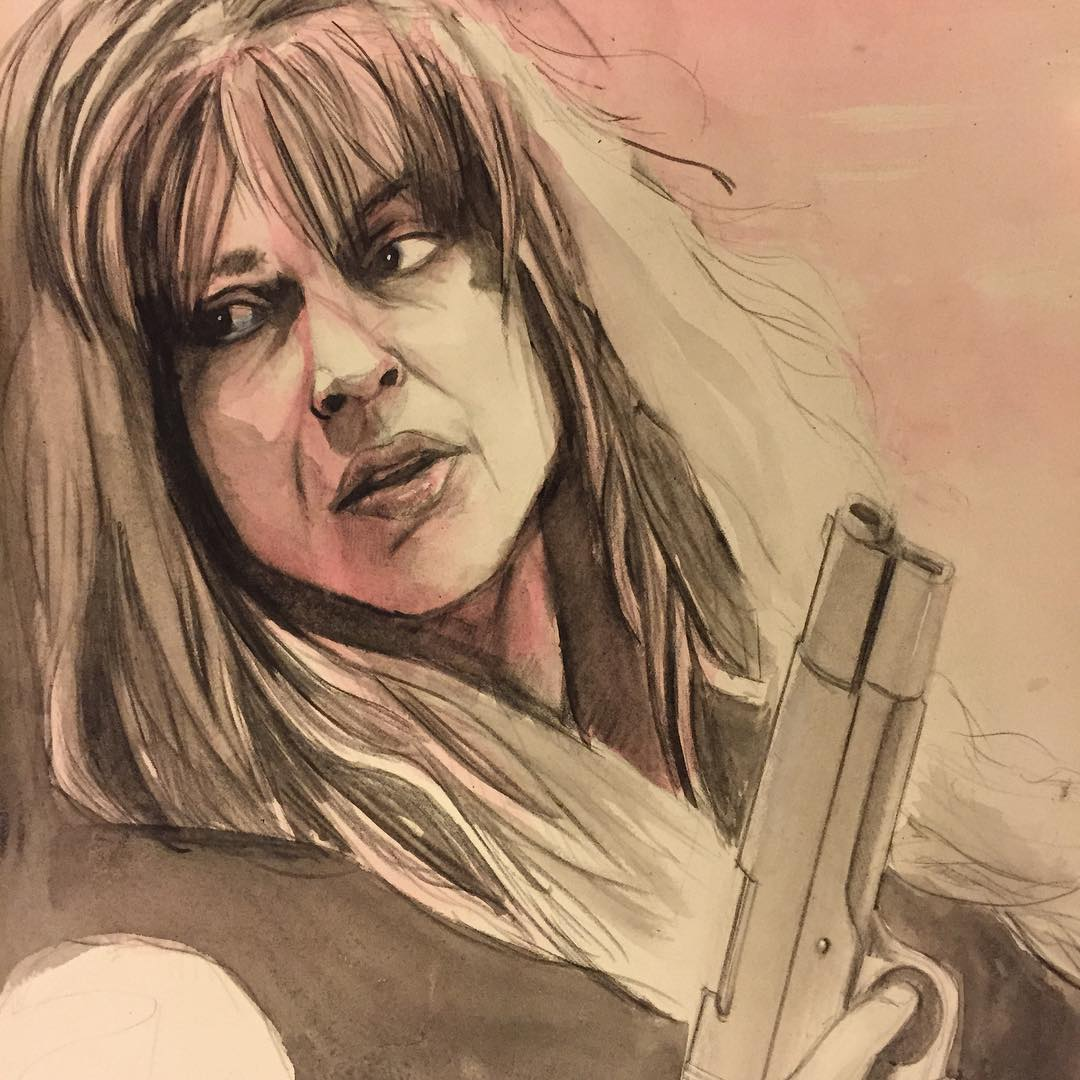 Session number 2. Still needs a ton more work. #sarahconnor #terminator #terminatorgenisys #arnoldschwarzenegger #portrait #watercolour #painting