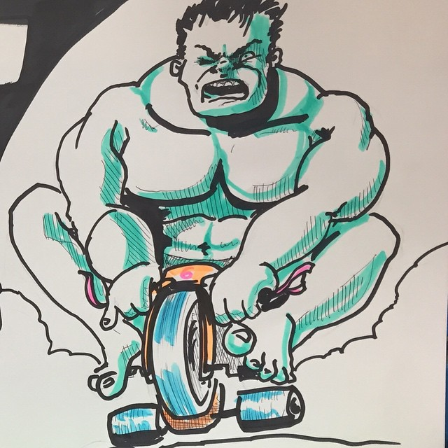 So, I drew The Hulk riding a Big wheel.