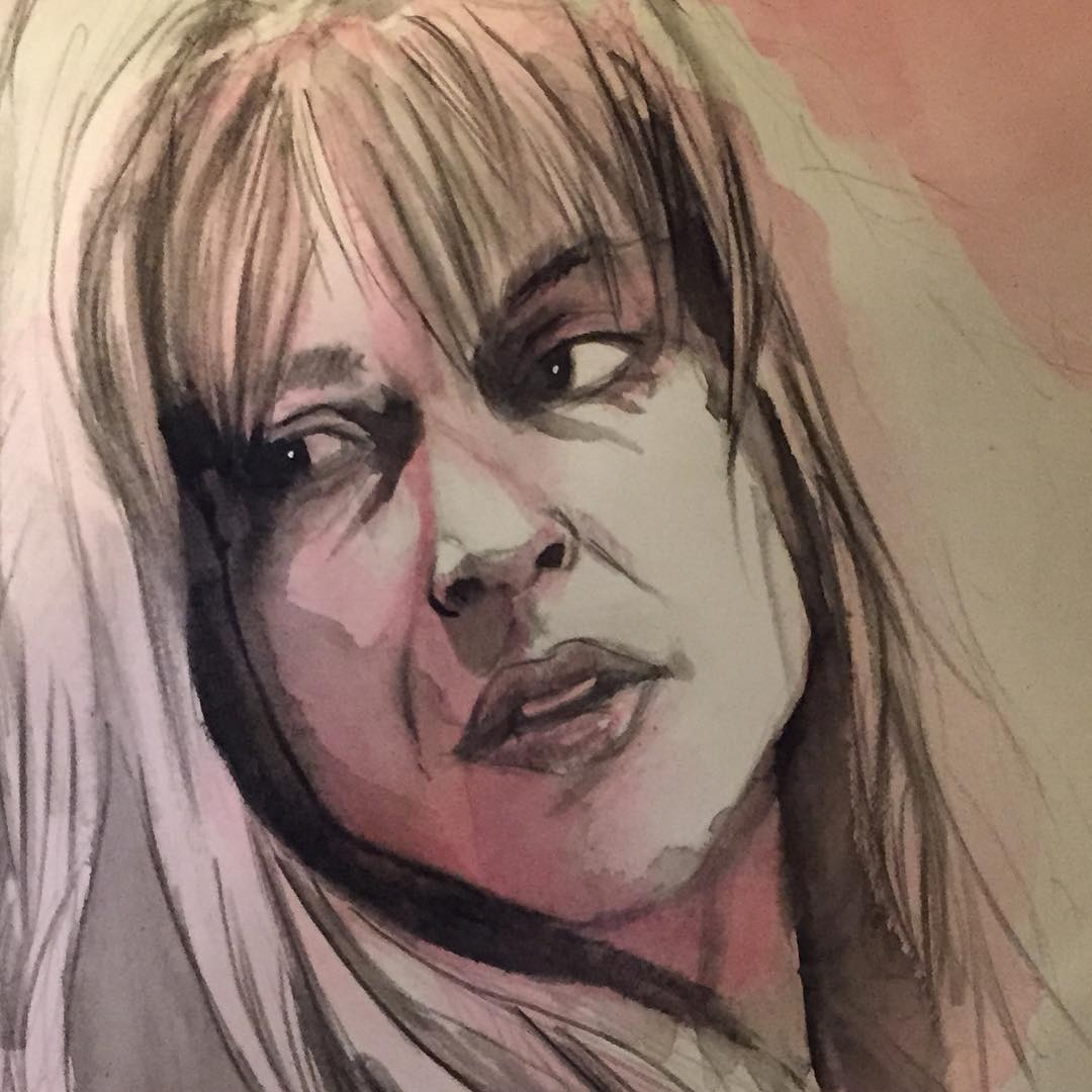 Sarah Connor - work in progress. Watercolour on paper. #terminator #terminatorgenisys #sarahconnor #nofatebutwhatwemake #painting #watercolour #portrait