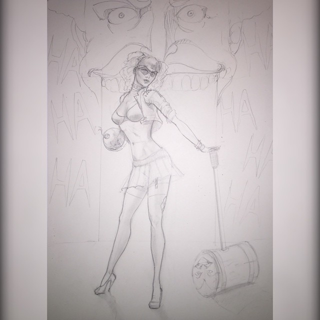 Starting a new painting of Harley Quinn. #harleyquinn #joker #thejoker #dc #comics  #comicbooks #suicidesquad #suicidesquadmovie