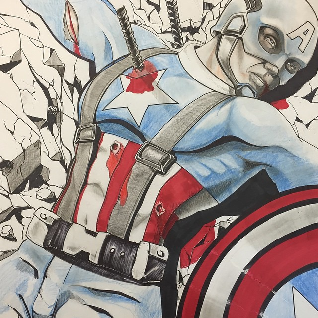 Drew this pic of Cap having a pretty bad day. #avengers #ageofultron #cap #marvel #captainamerica #tonystark #hulk #ironman #theavengers #drawing #coreywyerart #stanlee