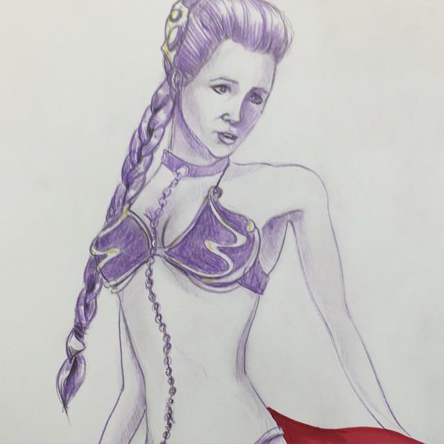 Leia closeup. #starwars #leia #princessleia #slaveLeia #bobafett #ewok #jbhifi #coreywyerart #jedi #returnofthejedi