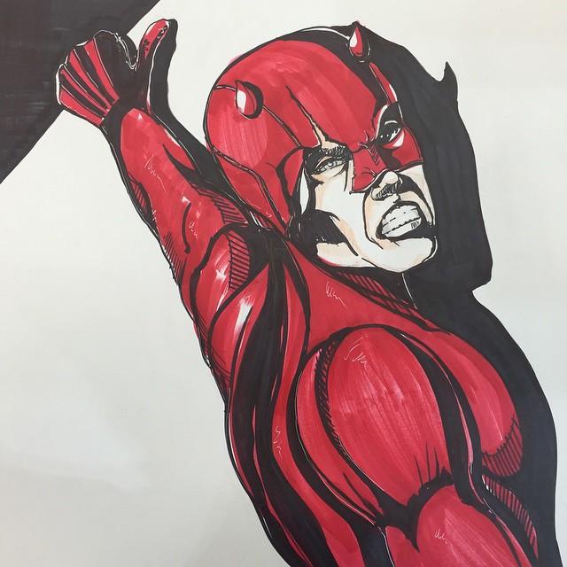Did a Daredevil sign. Best show ever! #daredevil #marvel #jBHiFi #coreywyerart #stanlee #comics #comicbooks #kingpin #netflix