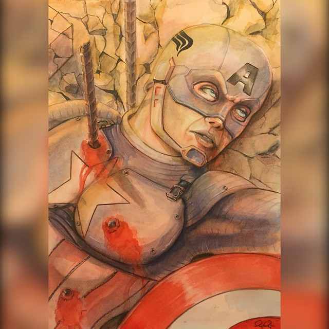 """Cap's bad day"" watercolour and pencil with just a dash of marker. This is the first of a series of works I will be doing to possibly take to cons in the future. #captainamerica #avengers #ageofultron #ultron #hero #super #ironman #hulk #marvel #marvelcomics"