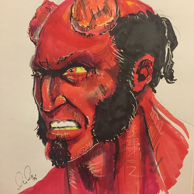 Quick sketch I did of Hellboy. Just testing out my markers on a new sketch pad I got. #Hellboy #coreywyerart #spectrumnoir