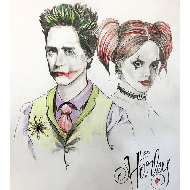 Did a sketch of Jared and Margot as Joker & Harley CoreyWyerArt @jaredleto @margotrobbie #jaredleto #joker #thejoker #harleyquinn #batman #dc #comics #portrait #art #coreywyer