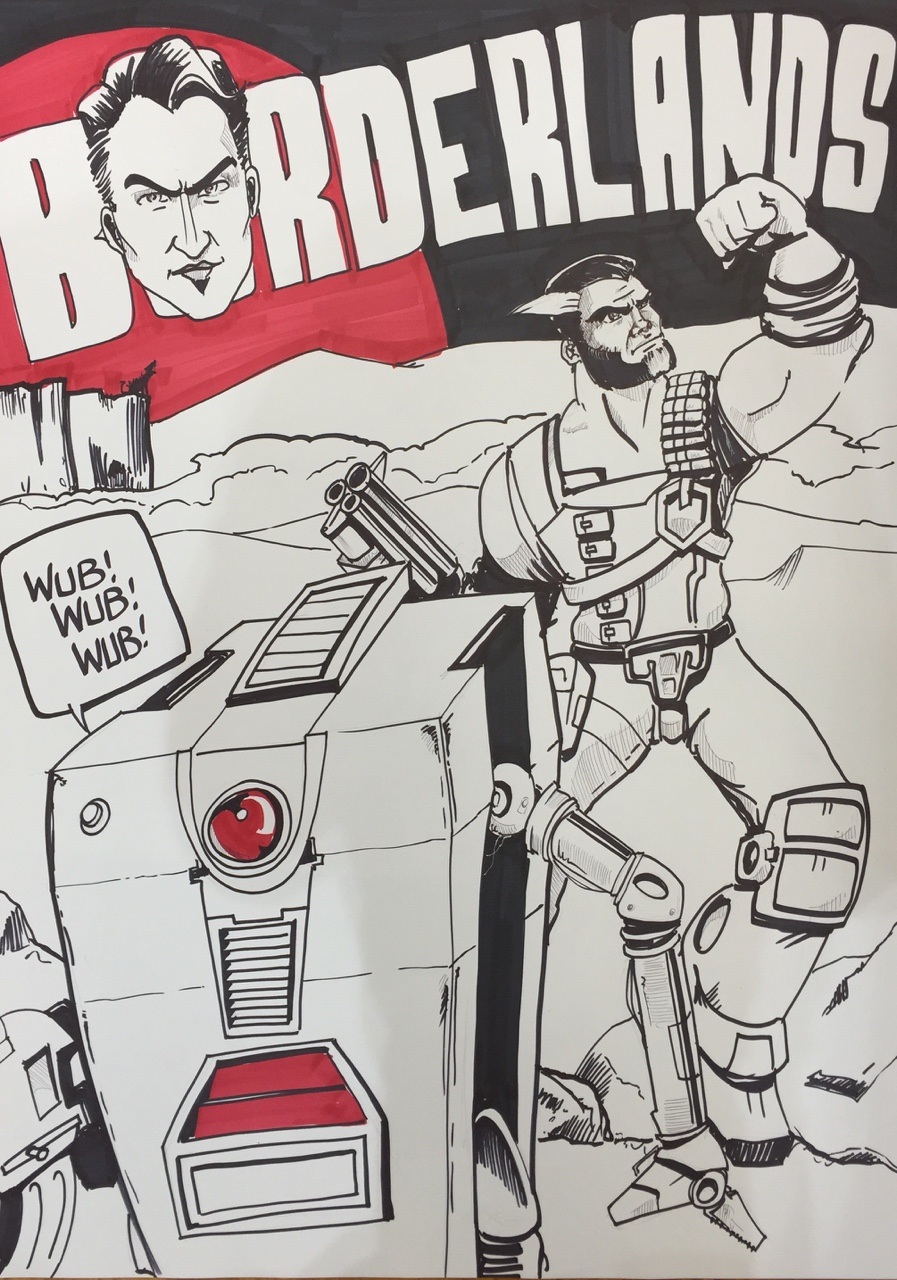 Made a quick sign for Borderlands at work. Blast the follow button!