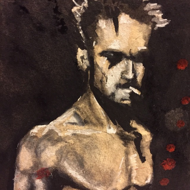 Close up of Tyler. #bradpitt #tylerdurden #fightclub #watercolour #portrait #painting