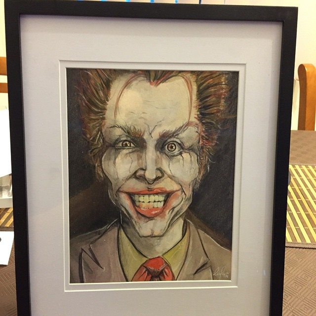 Funny how just putting a frame on something just makes it look 'finished'. #joker #watercolour #portrait #batman