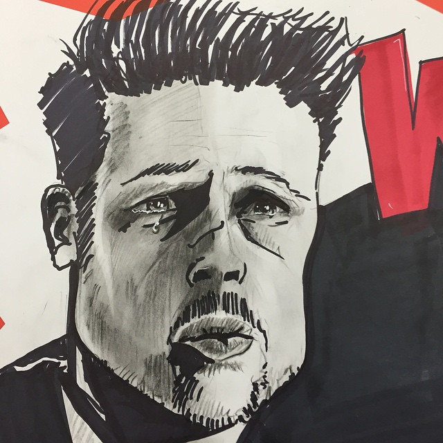 Quick sketch of Brad Pitt for our Box Set table. WHAT'S IN THE BOX???!! Remeber it's a deadly sin to not follow