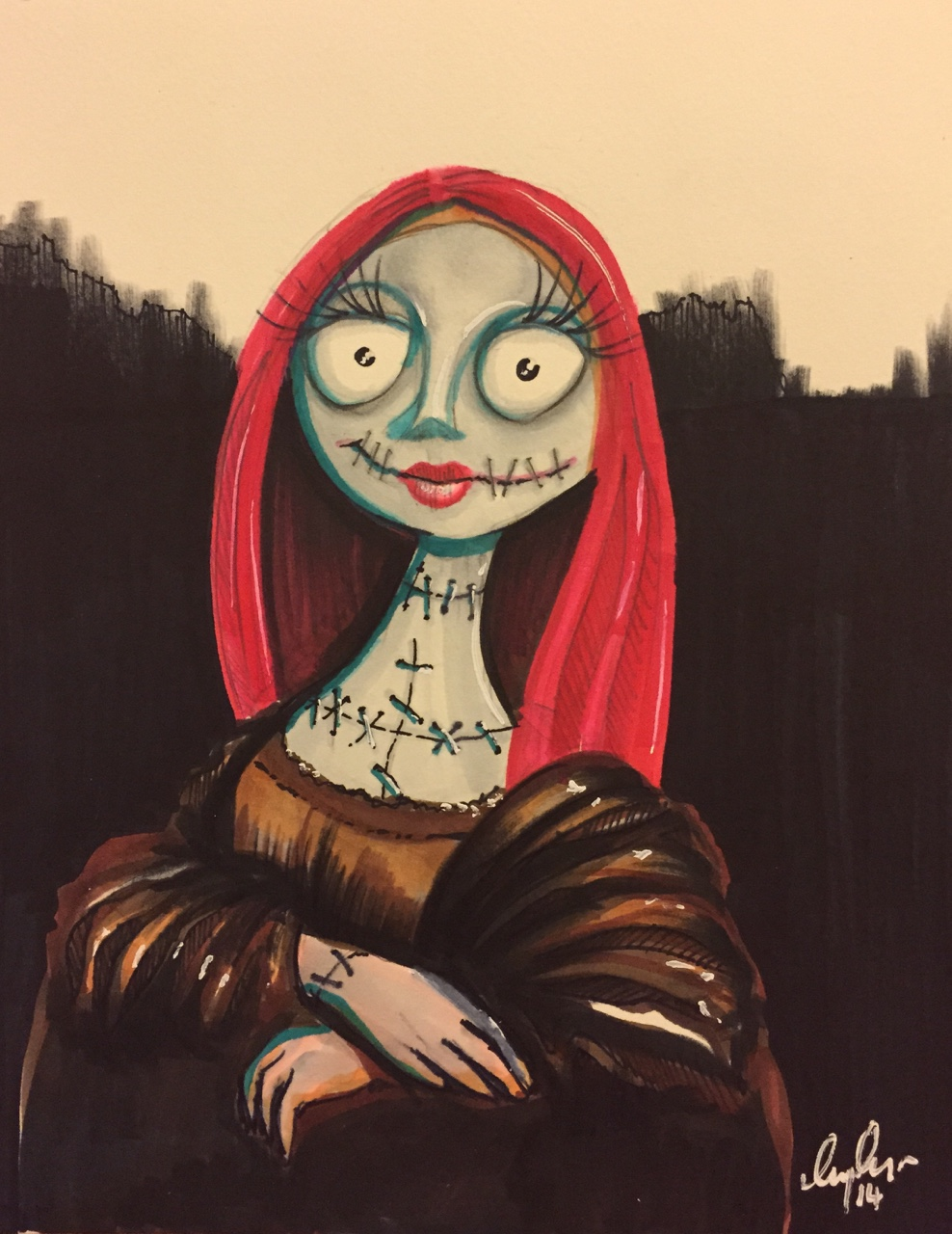Sally from The Nightmare Before Christmas as The Mona Lisa. Markers on watercolour paper plus other odds and ends. Be a DaVinci not a DeVito, hit the Follow button!