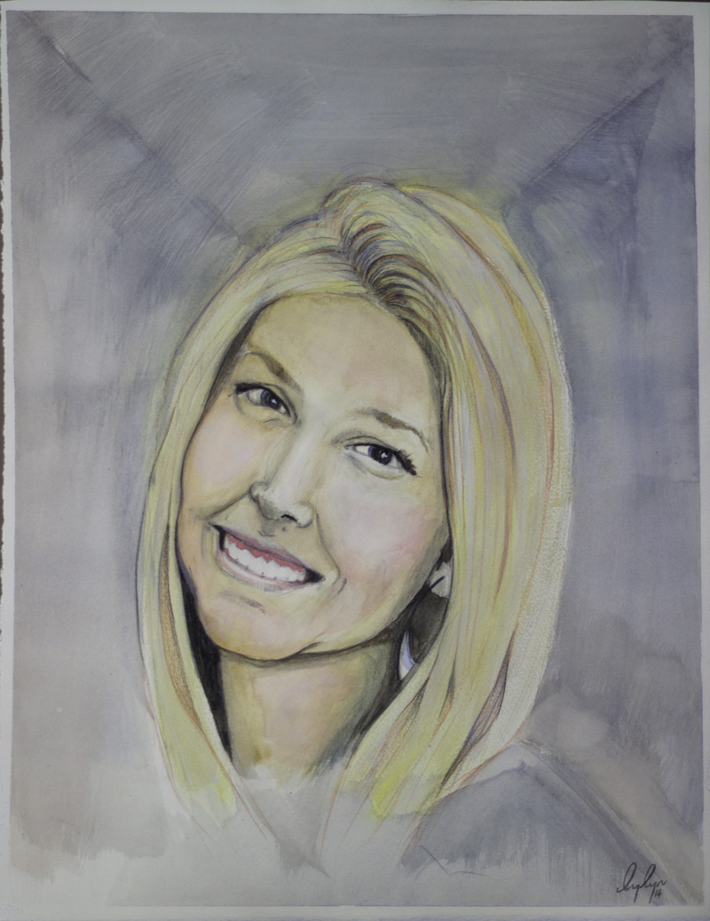 A Portrait I did of my niece Courtney. Watercolour on paper.