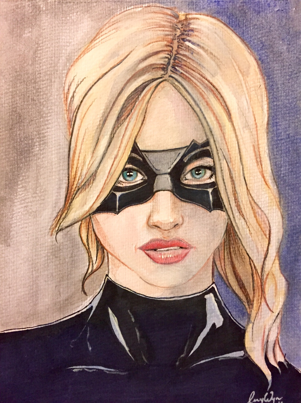 Pic I did for the OzComics Facebook page weekly challenge. Black Canary. Watercolour, pencil and marker. Hit the Follow Button