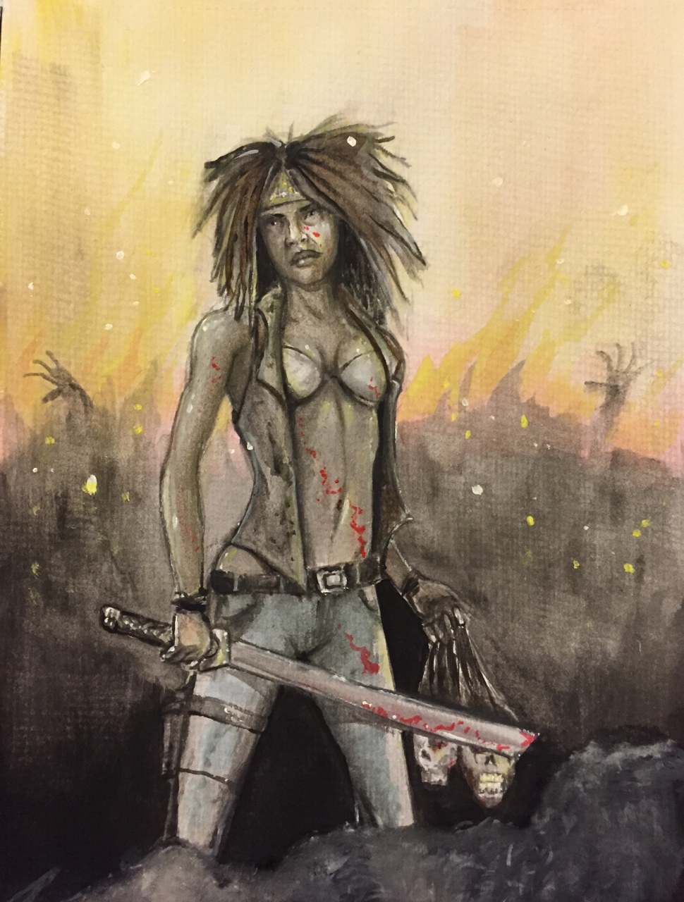 Michonne from The Walking Dead. Maul the follow button like a hoard of zombies