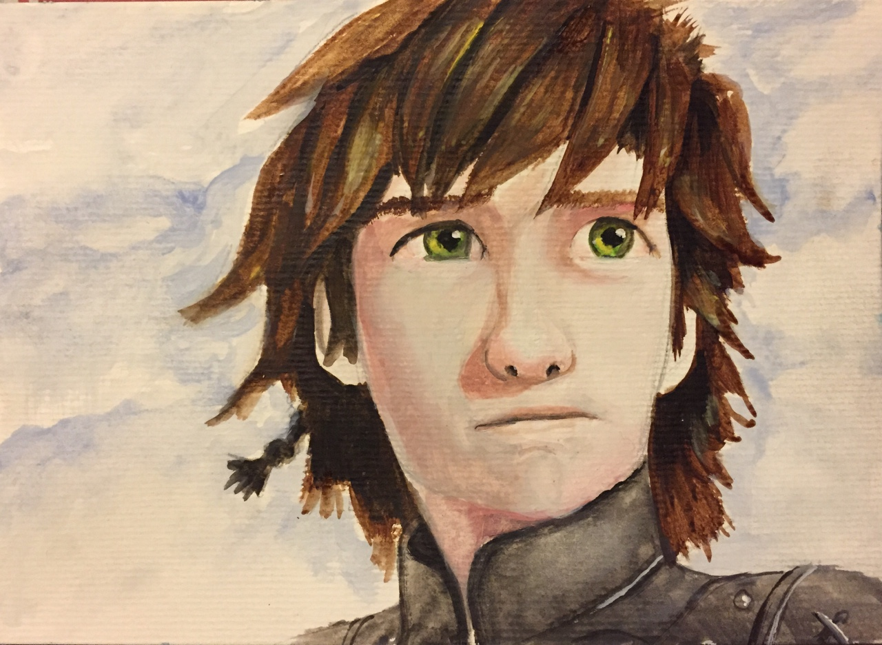 Hiccup from How to Train Your Dragon. Watercolour on paper.