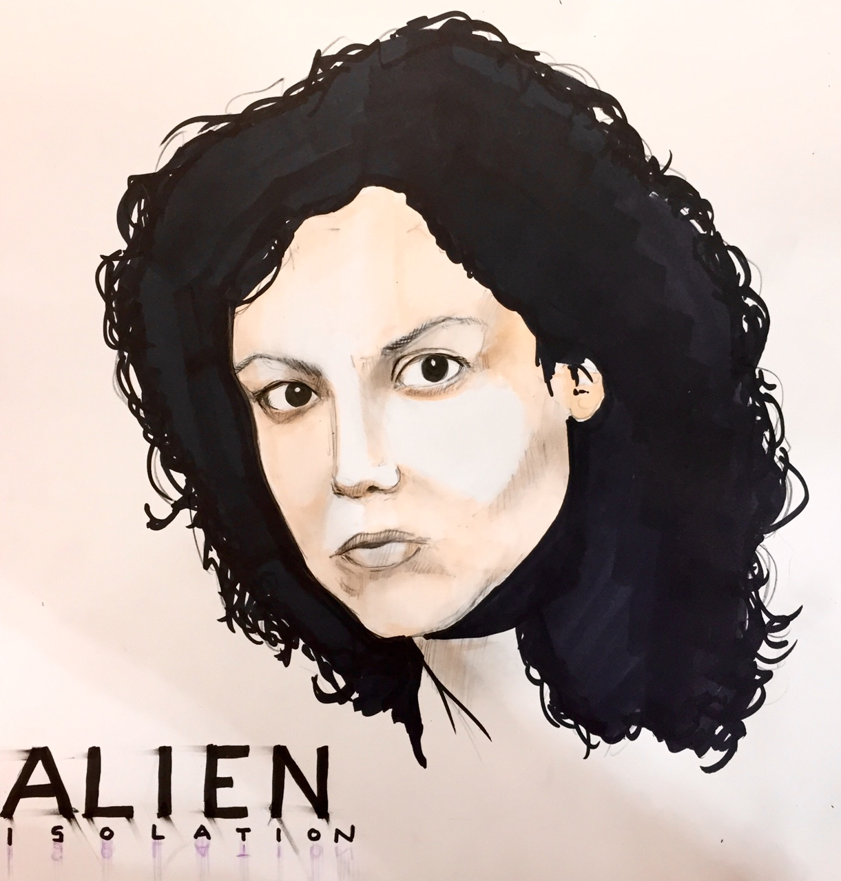 Ellen Ripley. In honour of Alien Isolation. Design marker and coloured pencil. It's a bit rushed cause I was busy at work.