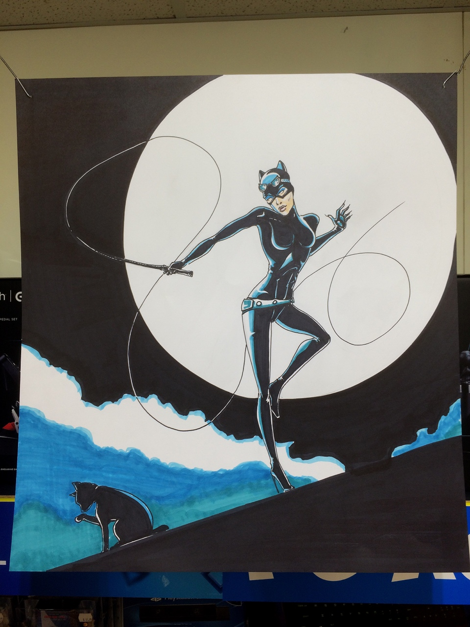 A cat woman sign I did at work. Sharpies and alcohol based markers. Don't forget to paw the follow button…mow!