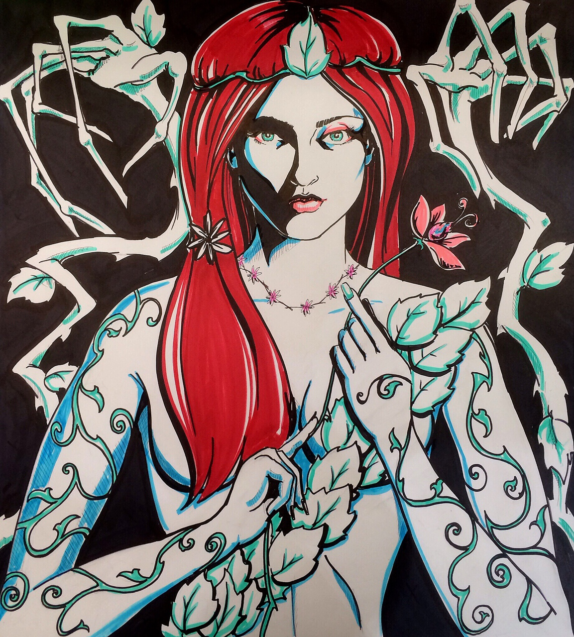 So I drew Poison Ivy. .. Hmm starting to feel itchy…. Weird. Don't forget to scratch at that follow button!