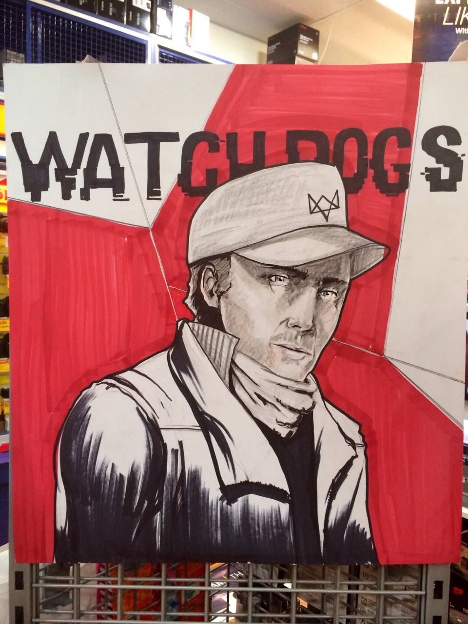 Watchdogs. Had no reference for the face because on all of the artwork he always has his mask on. Follow me for more artwork!