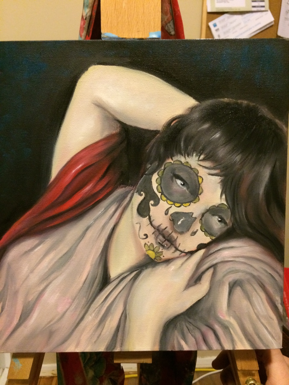 'La Venus Durmiente' Probably the most detailed artwork I have ever done. It was commissioned for an album cover with the brief being 'Sleeping Venus with day of the dead makeup'. Oil on canvas. Follow me for progress photos and other cool art.