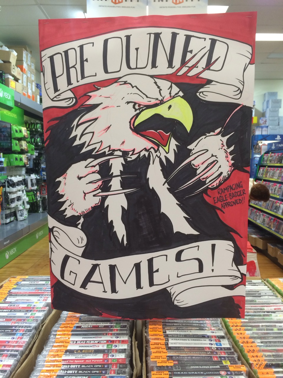 Here's a quick sign I knocked up featuring The Rampaging Eagle Badger!