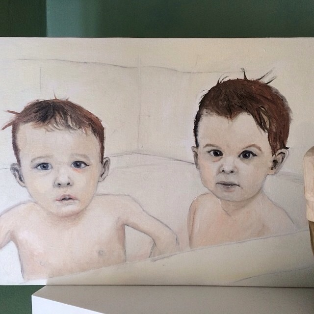 This is a painting I did of my nephews Grayson and Lucien. It was for a Christmas present. Oil on canvas.