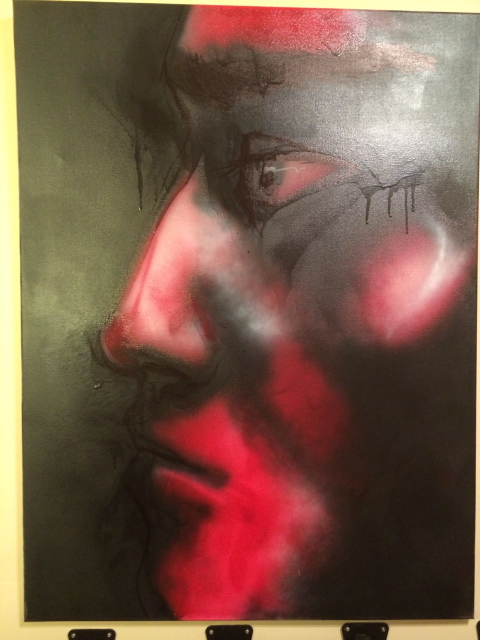 This is a painting I did for my recording studio. It's spray paint and marker on canvas.