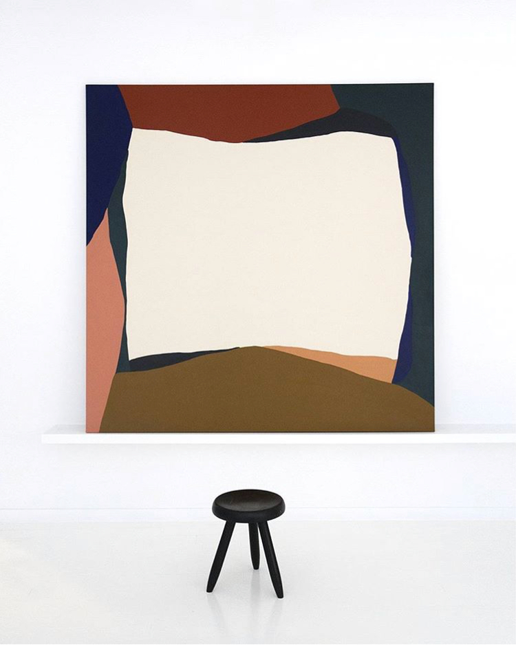- In the larger works, forms hug the painting edges to suggest a window frame, the view outside flattened in two dimensions yielding playful amorphous shadows. To study the paintings is to grow to love their loose, referential quality. Part of their appeal is that they feel familiar, even as they remain elusive.