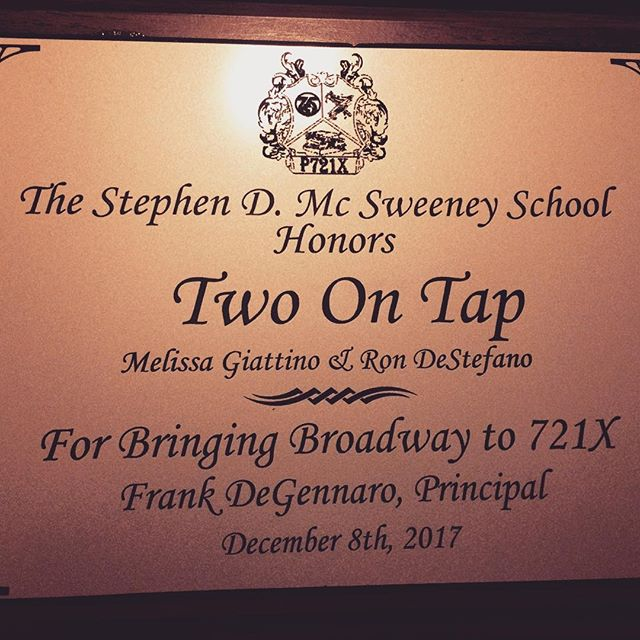 It was such an honor and pleasure to perform for the amazing students of P721X in the Bronx! Thank you Principal, Frank DeGennaro for this beautiful plaque to commemorate the special day!