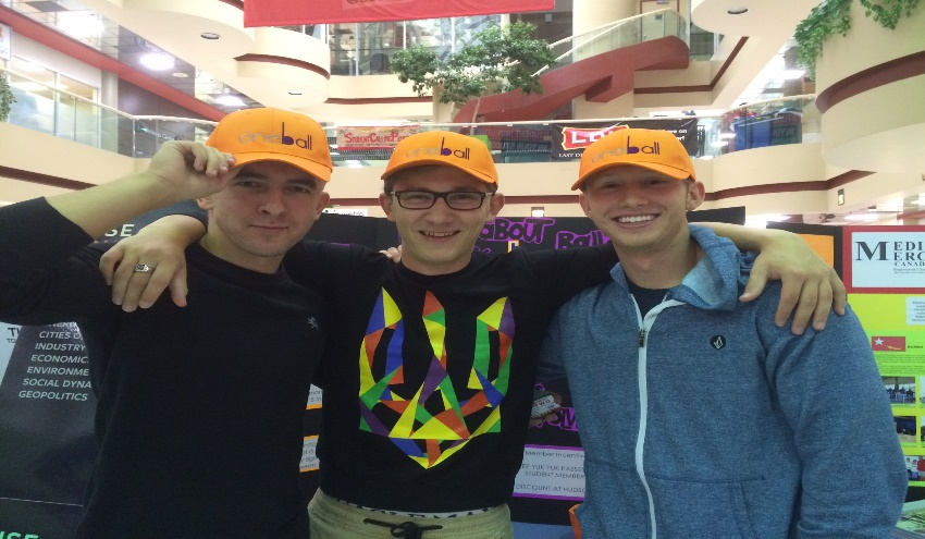 President Igor Stukalin (Left) and VP Danylo Moussienko (centre) sporting Oneball hats with a new member.