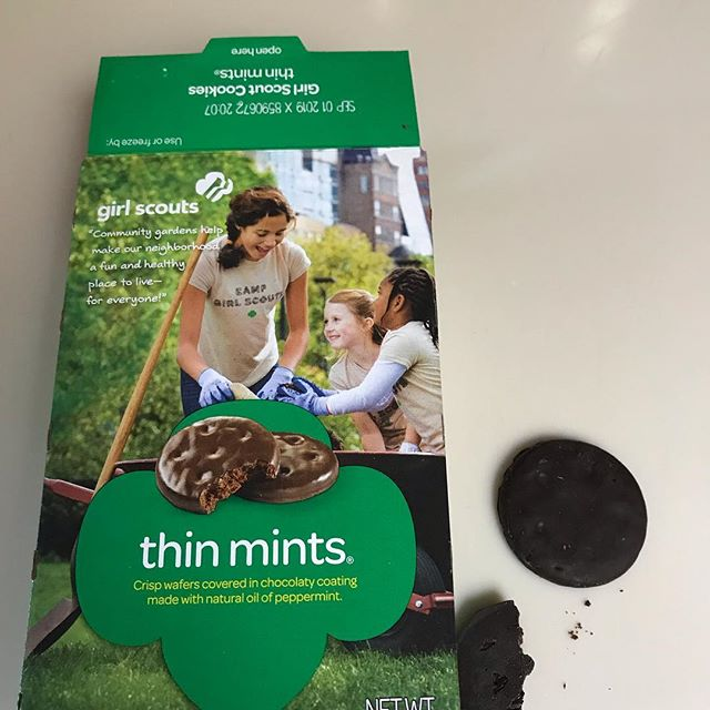 Truth! This is my yoga practice today. How to maintain balance in my relationship with the thin mint. How to not eat an entire sleeve? Meditation? Nope! Pranayama? Nope! Surrender? YES! #thepowerofagirlscoutcookie #yogishaveattachments #cookietruth #noshameinmycookiegame #gisellemariyoga #keepinitreal