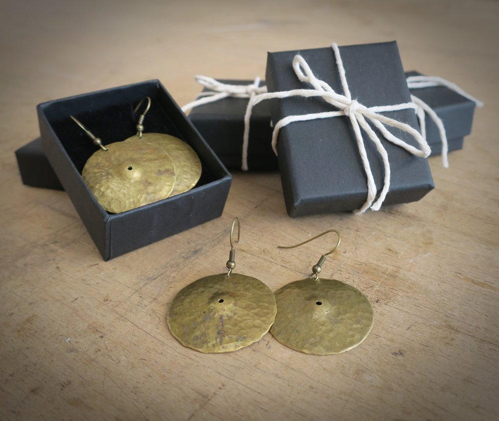 handmade cymbal earrings