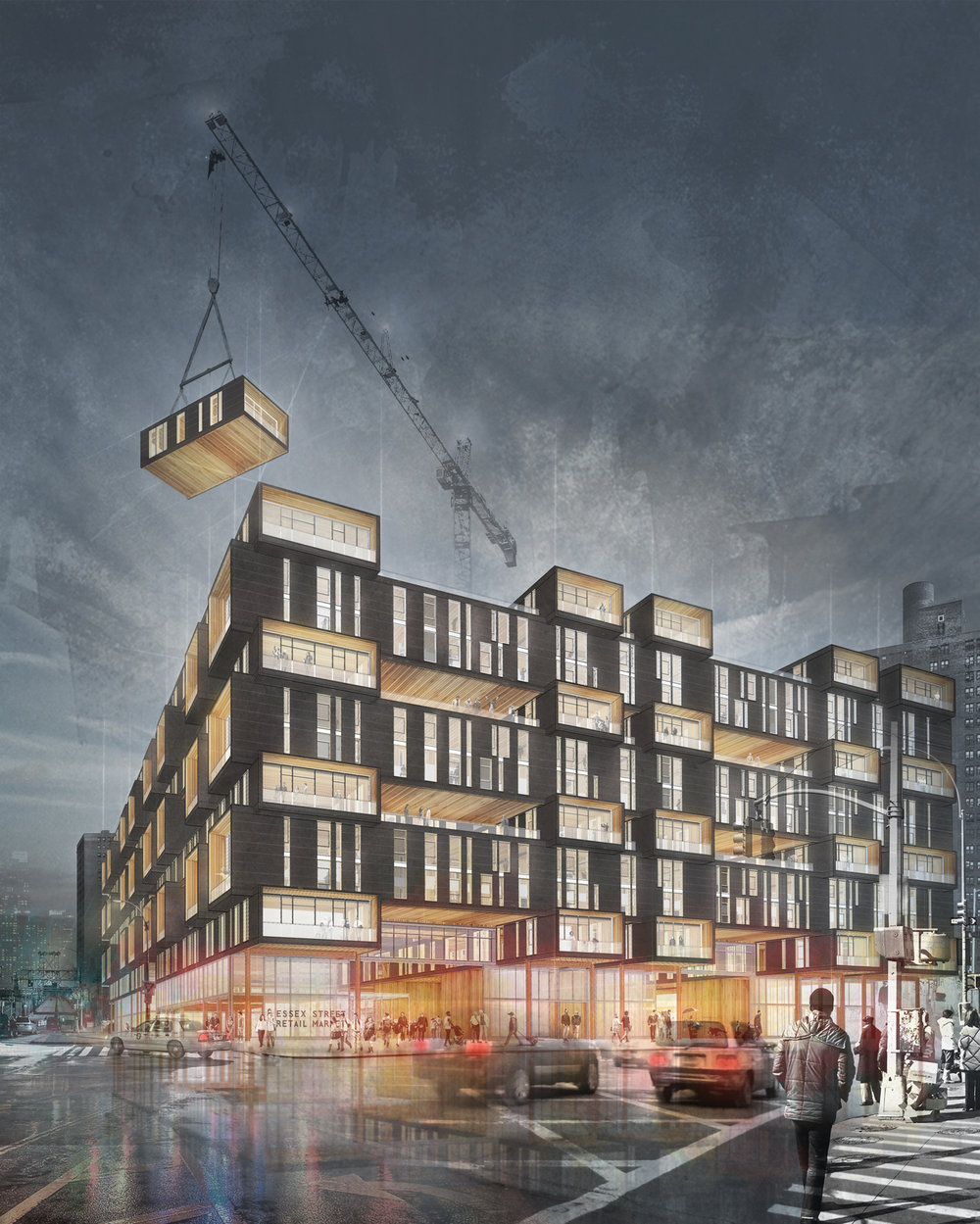 Rendering 01  /  Corner of Delancey and Essex Street, Lower East Side Manhattan