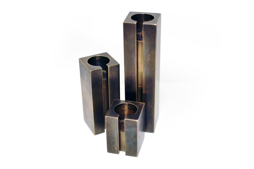 Photo 03 /  Blackened Solid Brass Candle Stick Holder Set