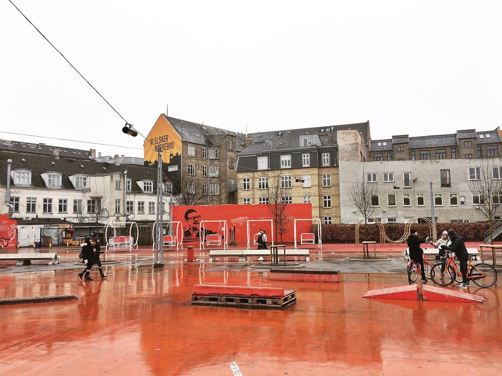 Superkilen, red urban playground, photo by author
