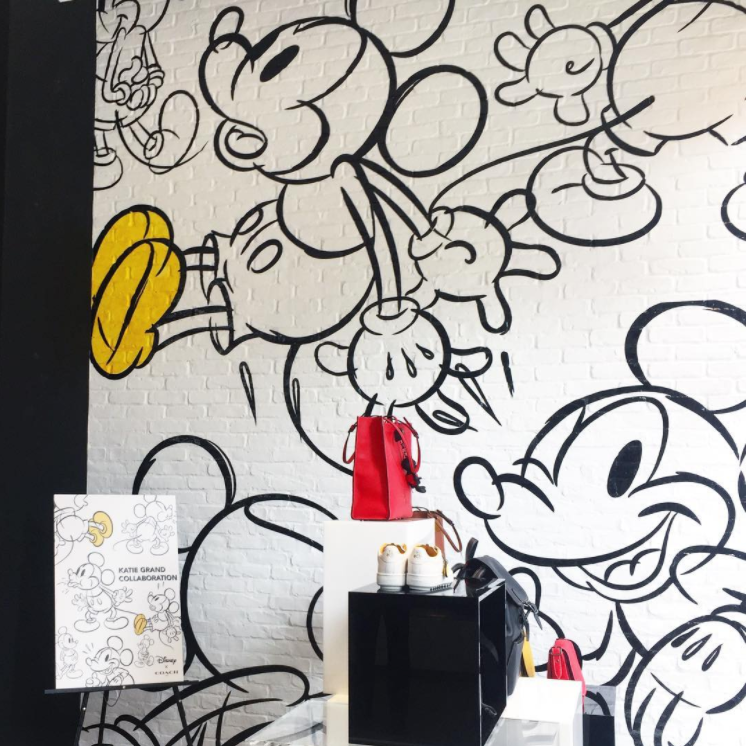 It's Mickey everything in Coach's #soho store, the only one in the country with floor to ceiling Mickey illustrations. #mickeymouse #DisneyxCoach #designpackaging #DPinNY