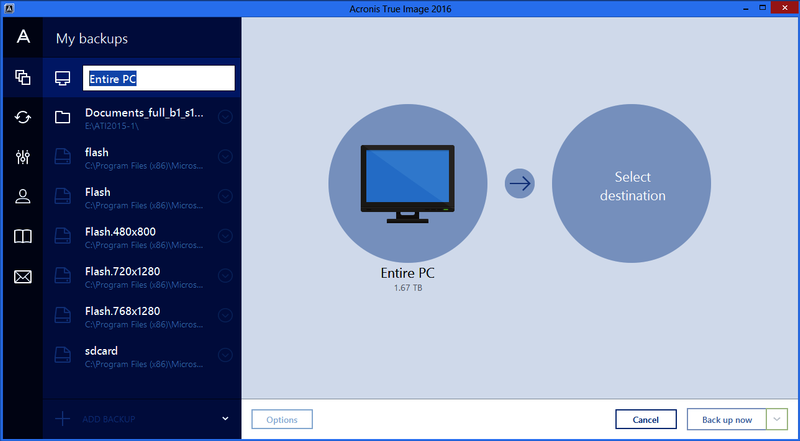 The Acronis True Image 2016 on PC.