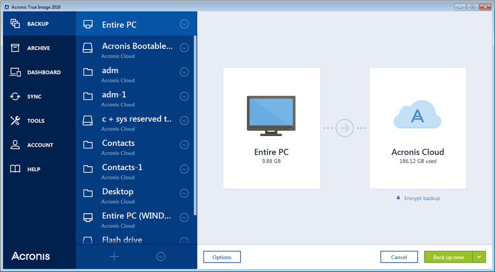 The Acronis True Image Cloud UI on PC: Designed and optimised for the Operating System.