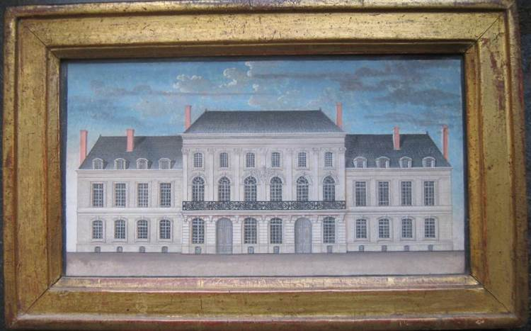 Gravure aquarellée de la cour d'appel, ancien hôtel de Craon, puis parlement de Lorraine