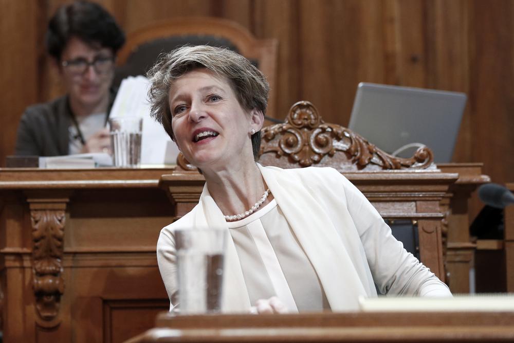 La socialiste Simonetta Sommaruga, Conseillère fédérale chargée de la justice. © Keystone / Peter Klaunzer / Berne, 2 juin 2014
