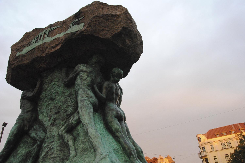 «L'honneur du travail», statue rappelant le passé industriel de la ville de Malmö. © Bérangère Le Petit / août 2014