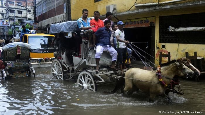A flooded street in Dhaka.